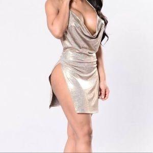 Metallic double slit Dress